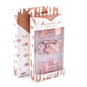 Stationery Set Rose Gold Color Clear Box and Storage Tray Vintage Nostalgia Series