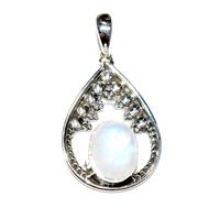 925 Sterling Silver Natural Gemstones Rainbow Moonstone Oval Oxidised Pendant