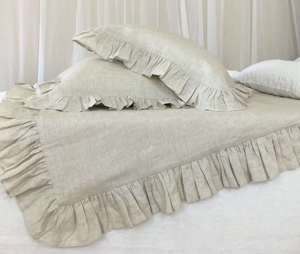Ruffle Natural Linen Duvet Cover, Ruffle Bedding, Shabby Chic Bedding, Luxury Bedding, Custom Bedding, Linen Bedding, Queen Duvet Cover, King Duvet Cover, Twin Duvet Cover, Full Duvet Cover