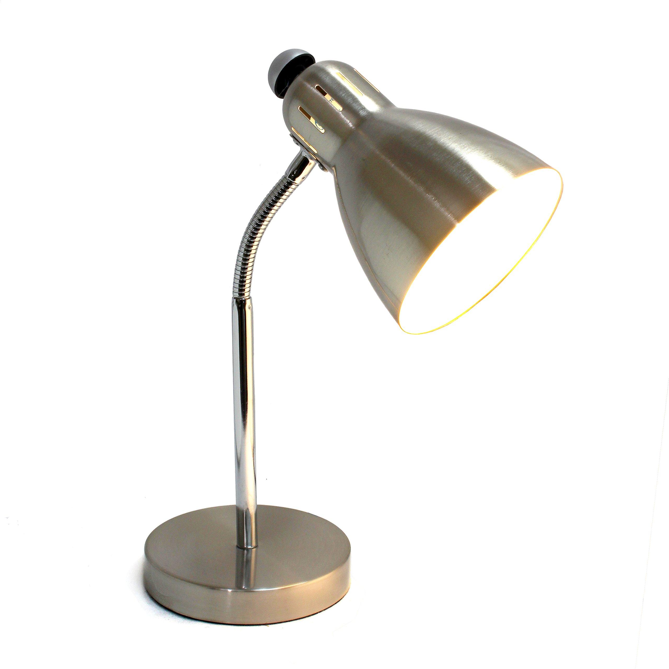 Simple Designs Home LD1037-BSN Simple Designs Semi-FLEXIBLE Desk Lamp, Brushed Nickel