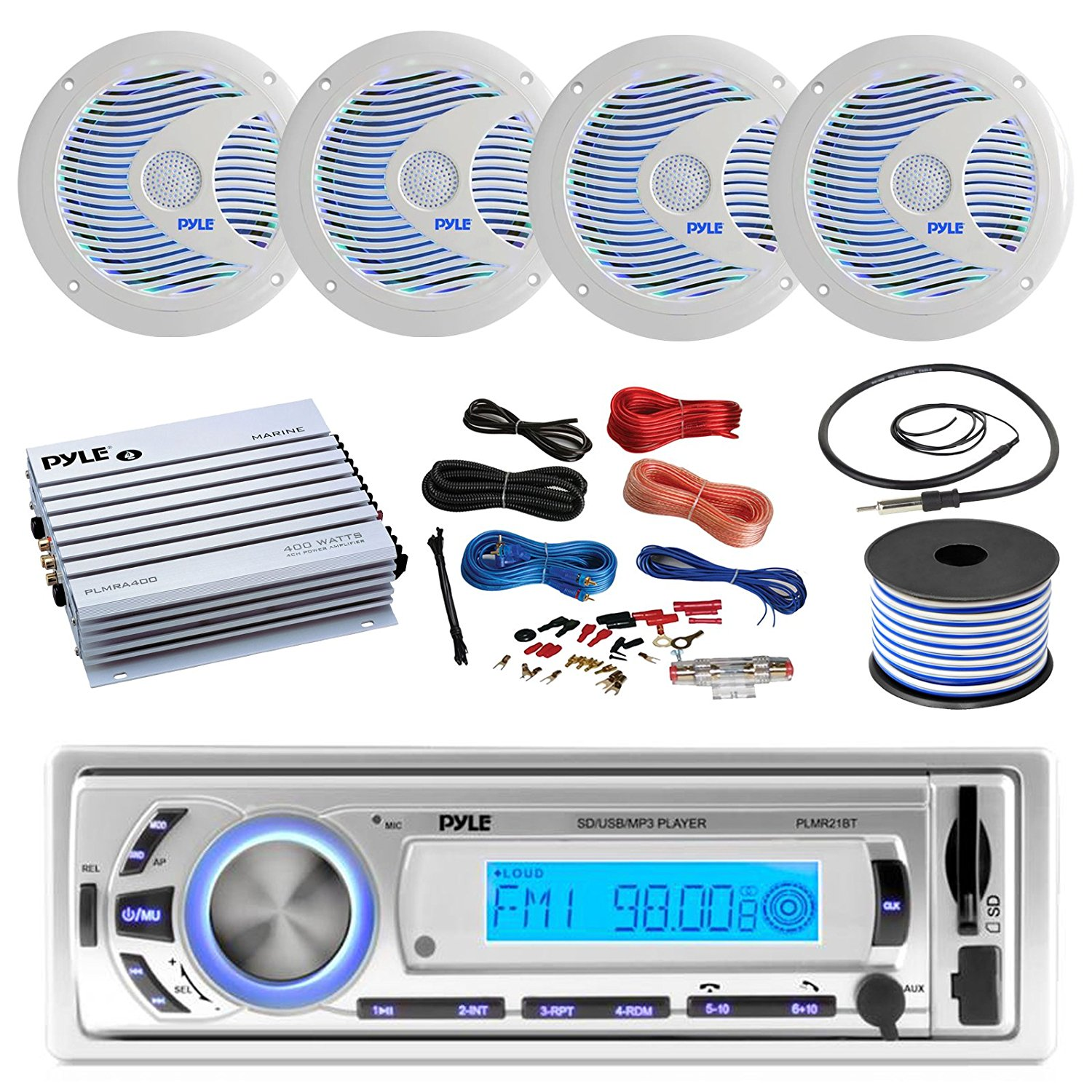 Get Quotations · 16-25' Bay Boat: Pyle Bluetooth Marine USB MP3 Stereo  Receiver, 4