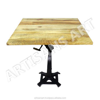 Adjustable Industrial Table With Crank Handle, Cast Iron With Square Wooden  Top Restaurant Dining Table