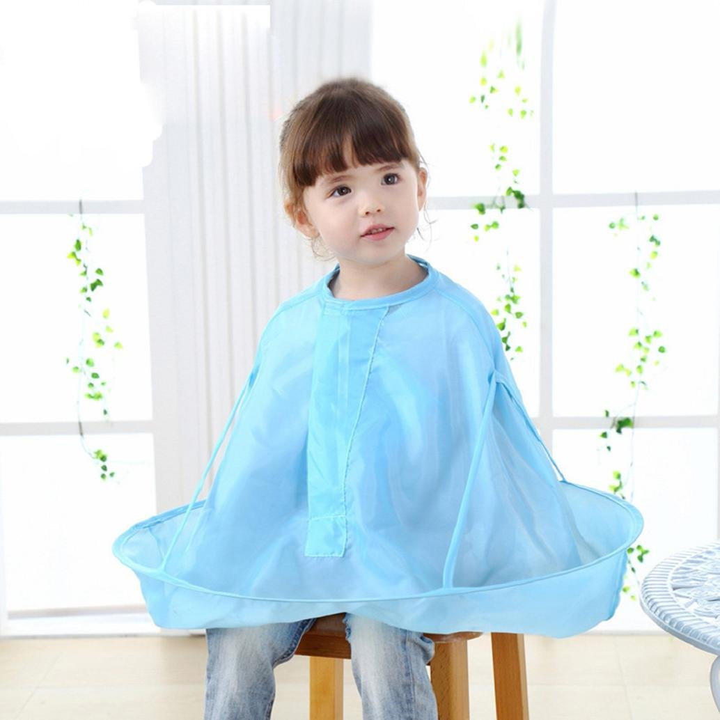Hairdresser Cloak, AMA(TM) Kids Child Hair Cutting Gown Umbrella Waterproof Hair Salon Cape Collar Haircut Bib Apron (Blue)
