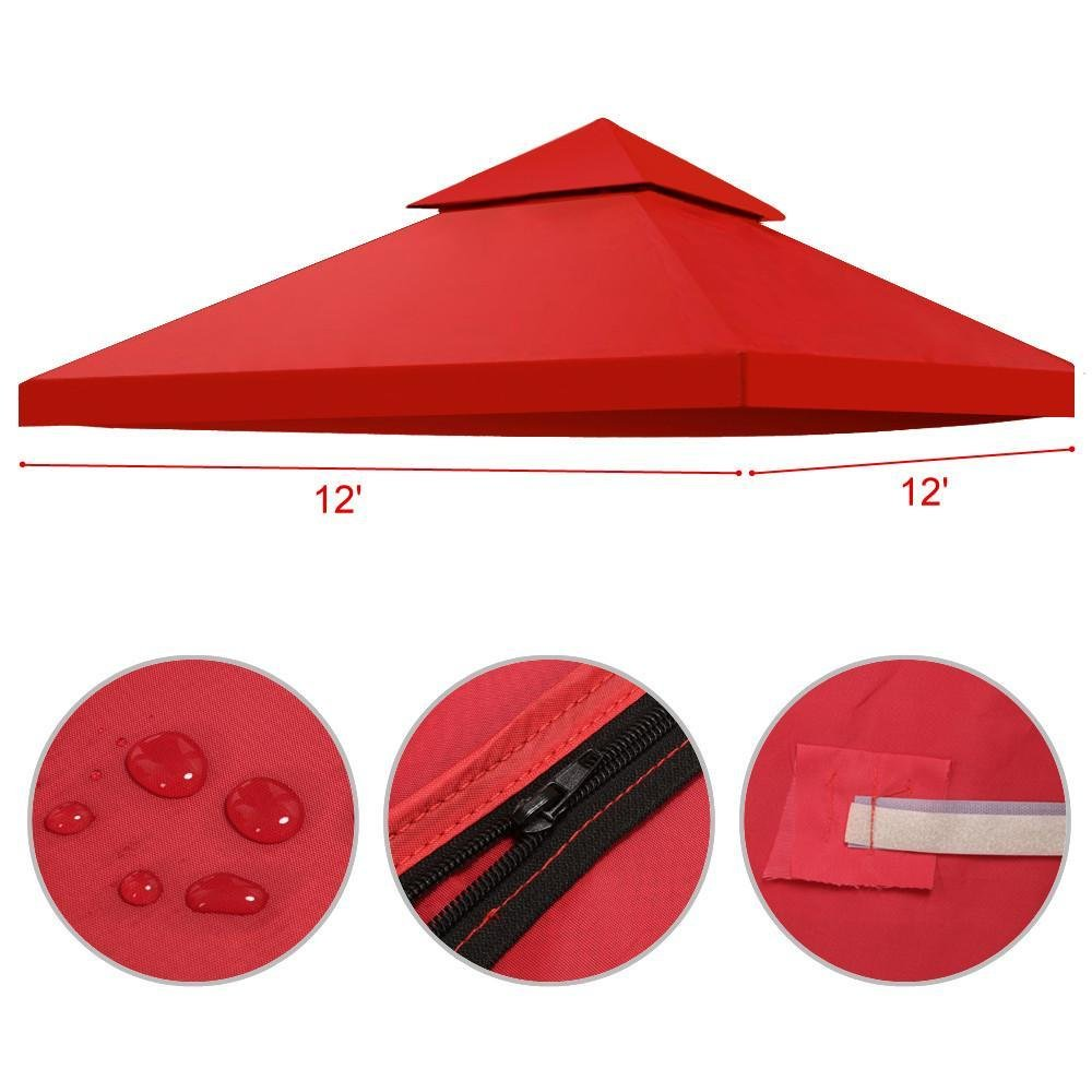 go2buy Durable Double Tier 12'X 12' Red Canopy Cover Gazebo Top Cover---200g Oxford & Good Ventilation & Sun proof