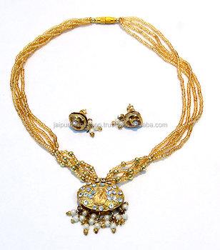 b99b4e320f1d Rajasthan Lac Joyería Lac Collar Pendientes Set Tienda Online - Buy Étnico  Jaipuri Hecho A Mano Lakh/lac Meenakari Cuentas Collar Y Del ...