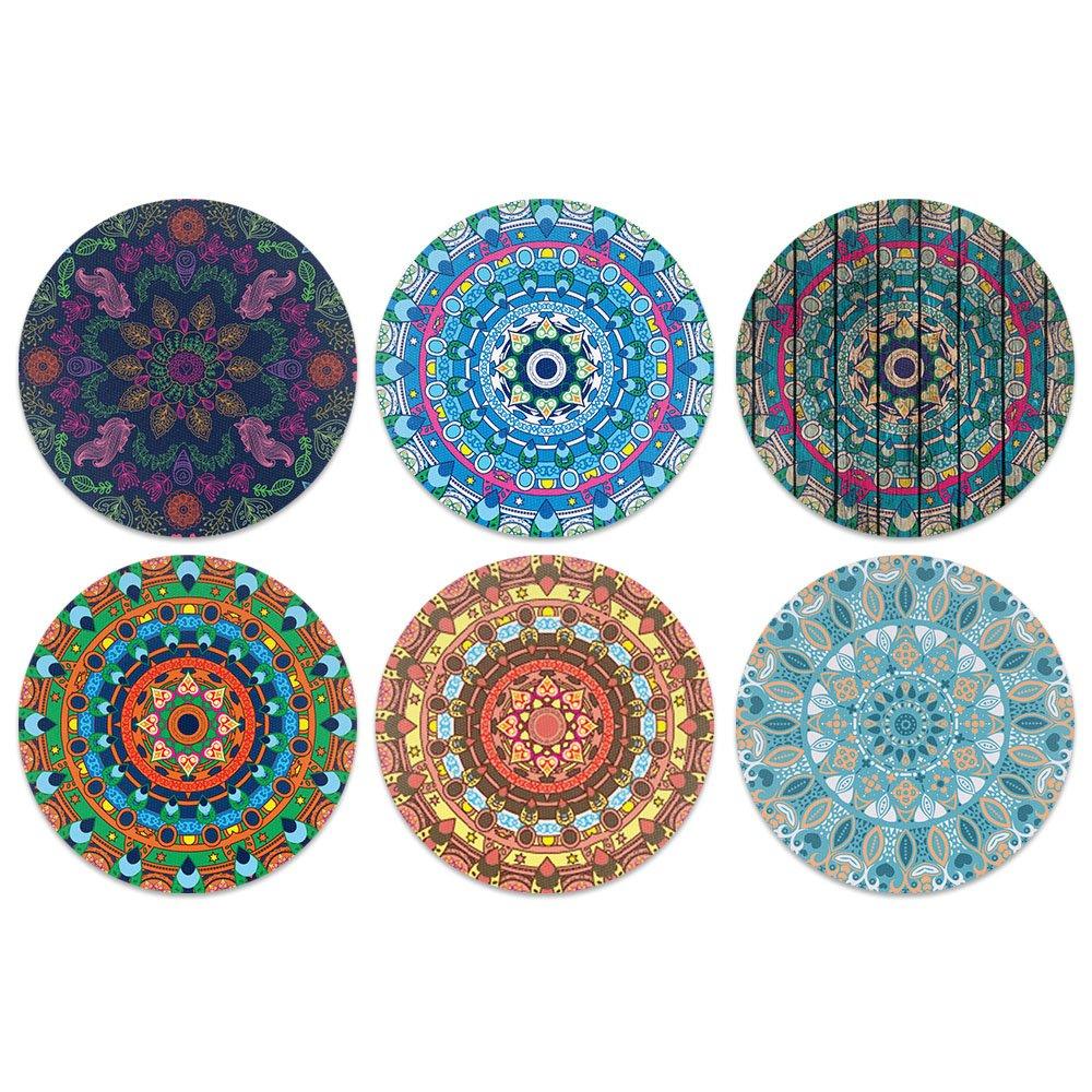 CARIBOU Coasters Bohemian Mandala Set One Design Absorbent Neoprene Coasters for Drinks, 6pcs Set