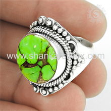Prominent green copper turquoise gemstone ring handmade india 925 sterling silver jewelry rings wholesaler