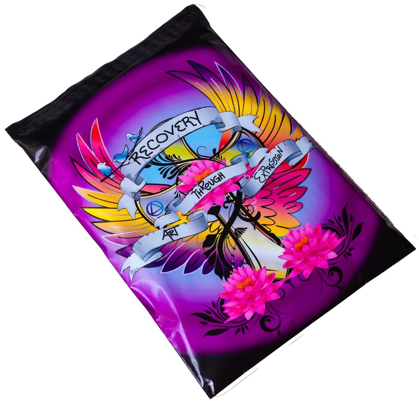 Poly Mailers Tattoo Desigenr Mailers Shipping Envelopes Designer Boutique Packaging Bags in Support of Addiction Recovery Proceeds Donated! Black, Blue, Purple, Pink #SmileMail (10x13)
