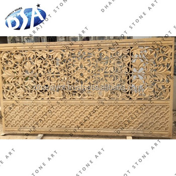 Beautiful Hand Carved Yellow Stone Marble Door Screen