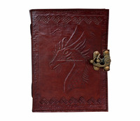 Leather Handmade Paper Engraved Blank Leather Bound Journal Horse Diary