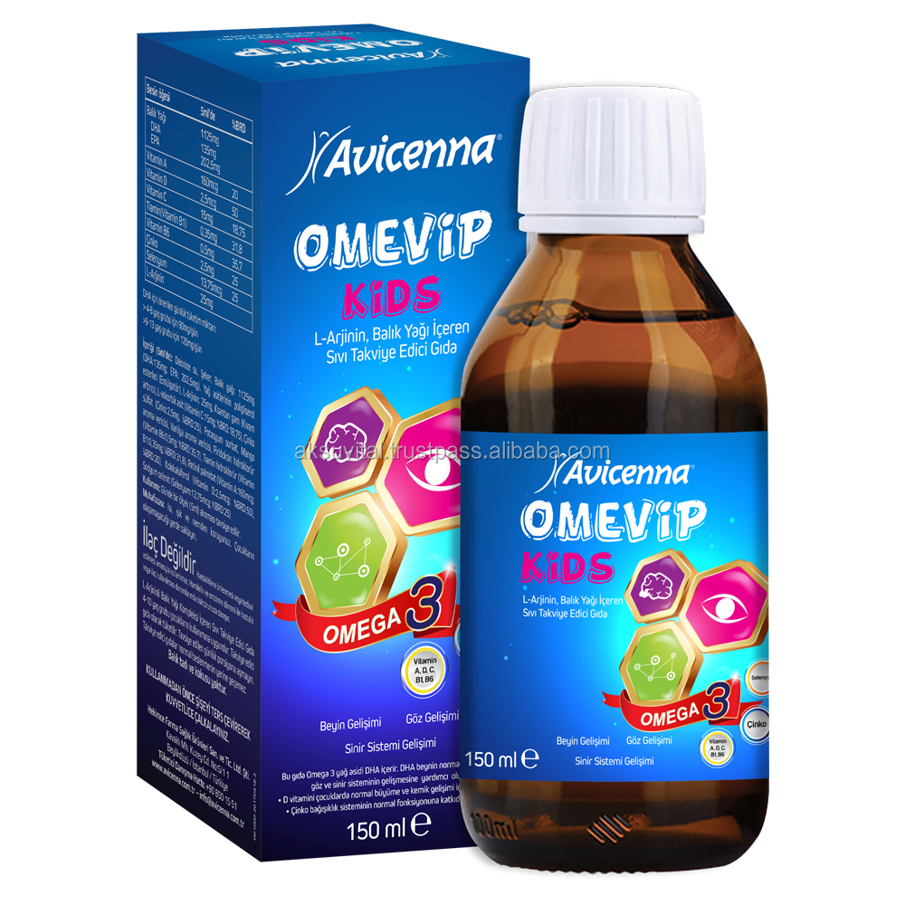 Kids Children Oral Liquid Energy Supplements Honey Omega 3 Fish Oil Syrup OMEVIP Brand growth syrup for children