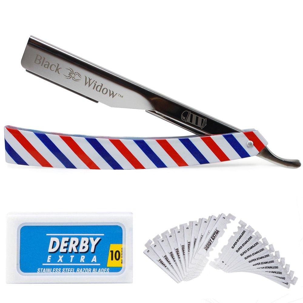Barber Straight Razor Kit - Durable Barber Straight Edge Razor Kit with 20 Pre-cut Derby Straight Razor Blades, Straight Razor Shaving Kit (Red,White,Blue)