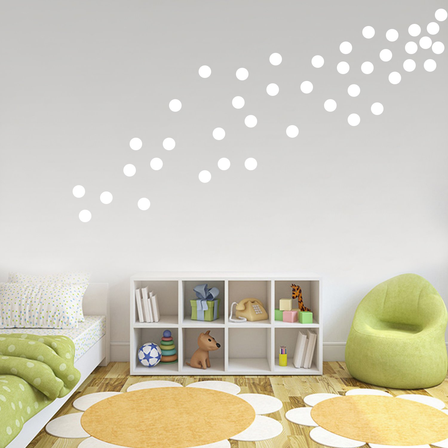 White Wall Decals Polka Dots Vinyl Stickers Safe on Painted Walls Round Art Removable Hanging Decor Decorations for Kids Nursery Rooms (200 Circles)