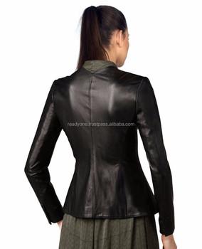 b58c0643f38 Womens Military Style Leather Blazer  jacket