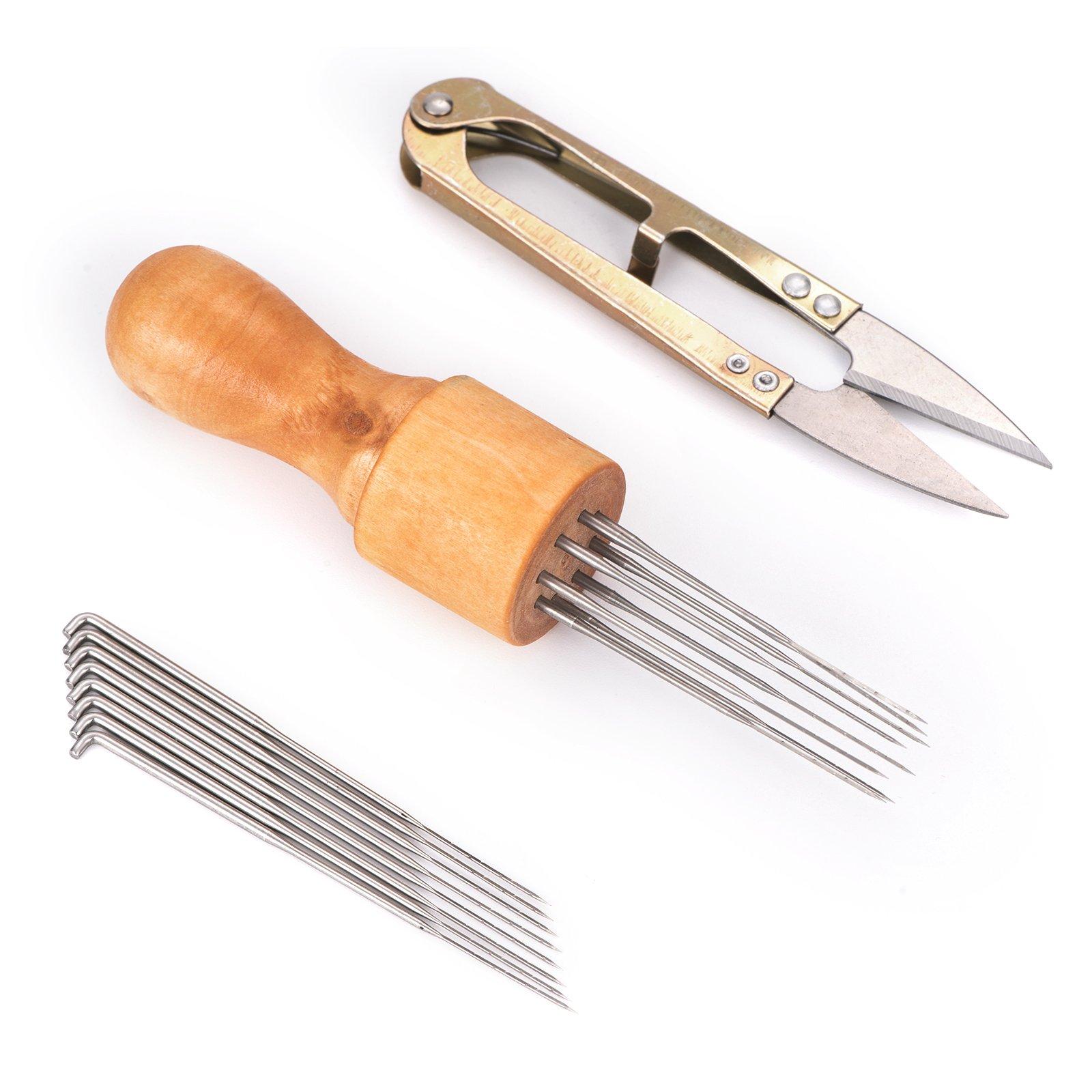 Kecuco Needle Felting Kits Needle Felting Supplies, Wool Felting Needles Tool Including 8 Needles with Solid Wooden Handle, 8 pcs Replacement Needles, 1 pcs Scissors(Tool Needles Scissors)