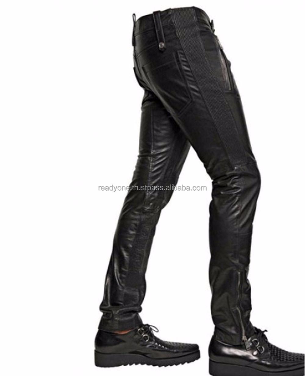 Uomo Pantaloni in Pelle Vera Cuoio Punk Kink jeans pantaloni pants BLUF bikers