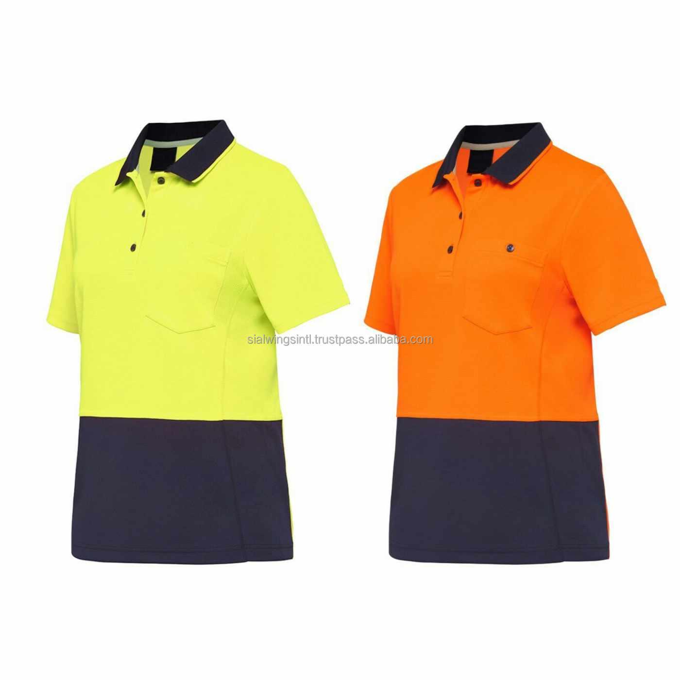 Custom Logo Hi Viz Safety Polo Shirts Wholesale Workwear Uniform