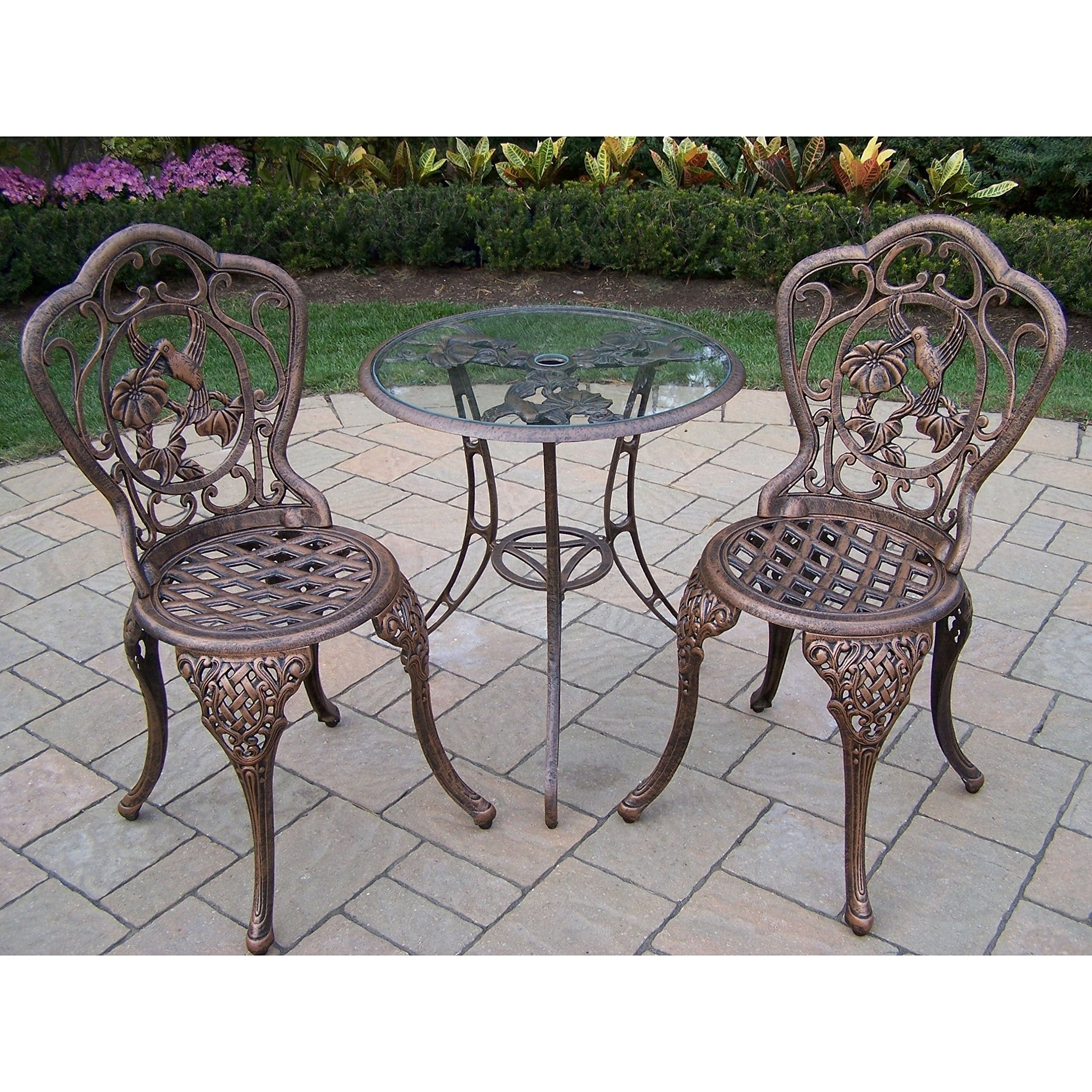 Get quotations · oakland living corporation lattice 3 piece bistro set with 24 inch tempered glass top