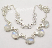 Handmade 925 sterling silver natural rainbow moonstone gemstone necklace bridal necklace set