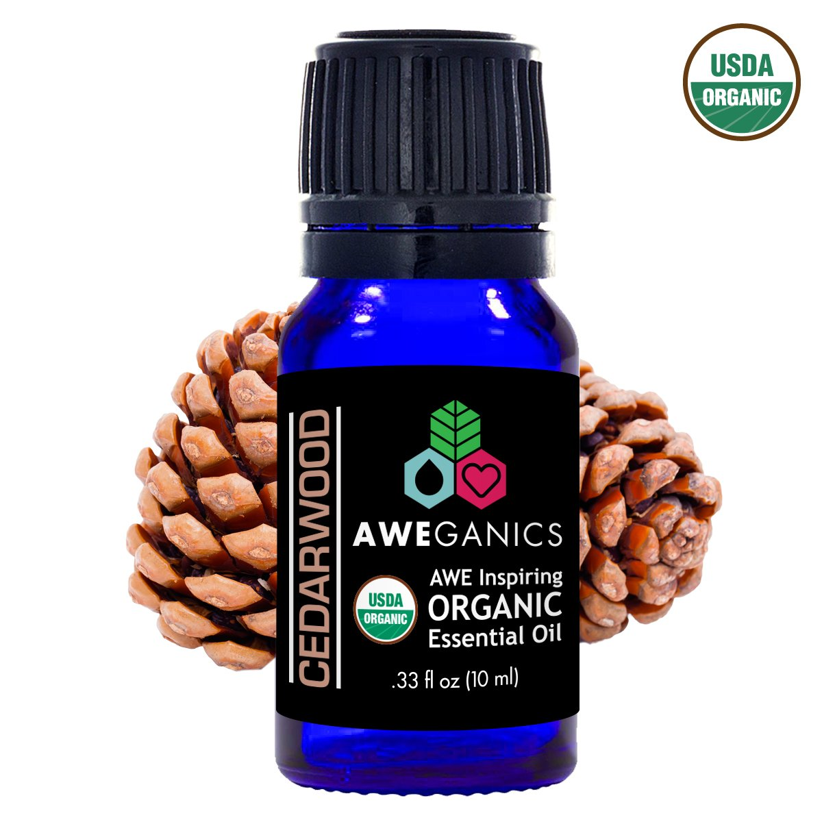 Aweganics Pure Cedarwood Oil, USDA Organic Essential Oils, 100% Pure Natural Premium Therapeutic Grade, Best Aromatherapy Scented-Oils for Diffuser, Home, Office, Personal Use - 10 ML - MSRP $14.99