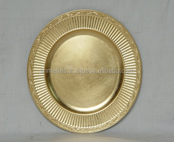 Gold Plated Metal Charger Plates For Wedding Decorative Antique Plate