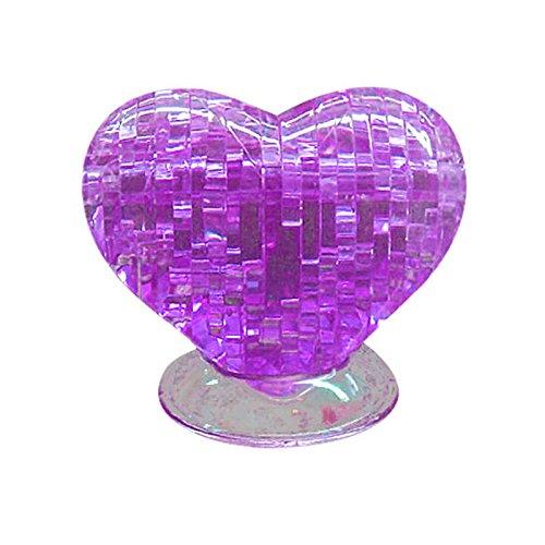 Puraid(TM) 2016 New Creative 3D Crystal Furnish Heart Jigsaw Puzzle IQ Gadget Purple Model Building Kit FCI#