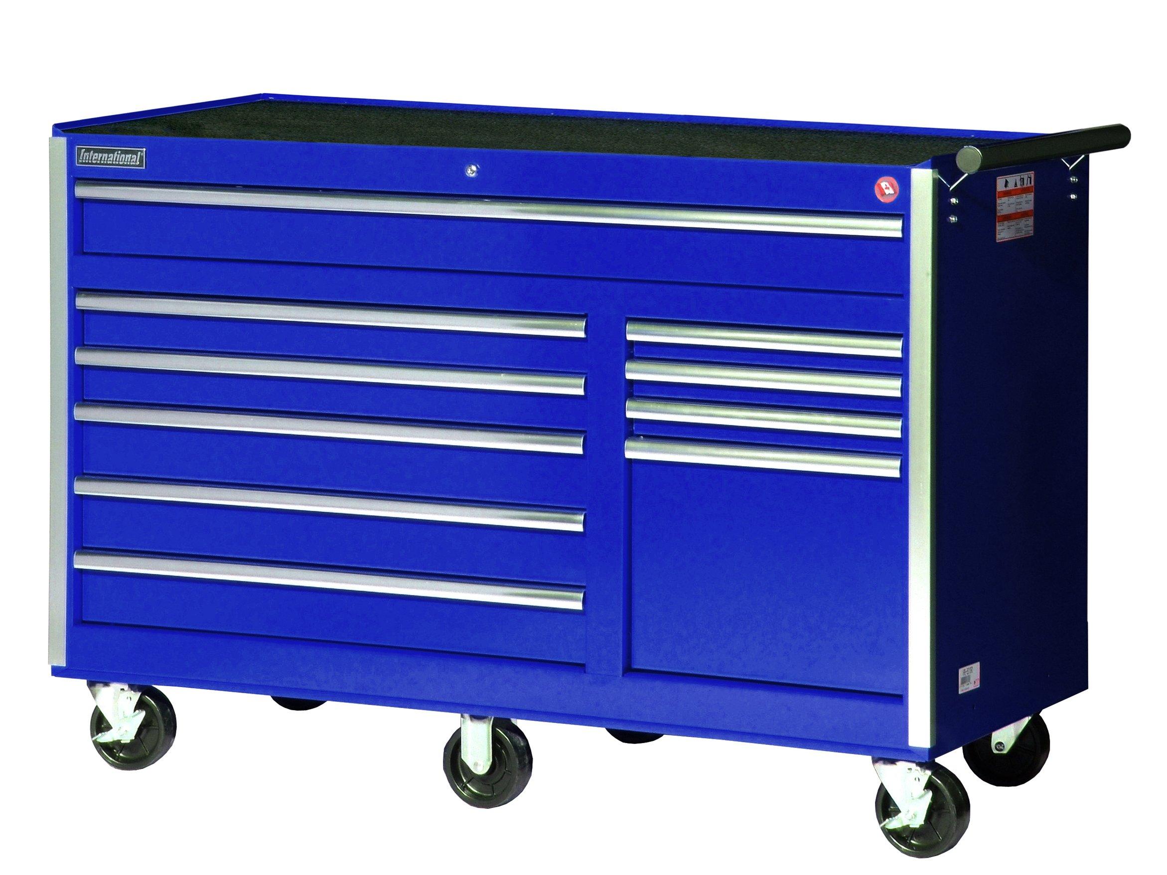 International VRB-5610BU 56-Inch 10 Drawer Blue Tool Cabinet with Heavy Duty Ball Bearing Drawer Slides