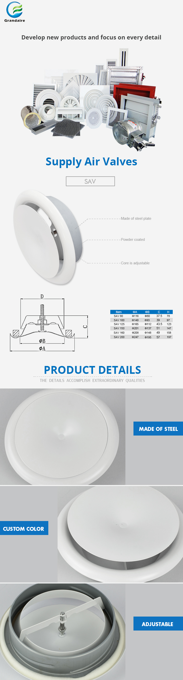 HVAC System Air Duct Diffusers Wall Air Supply Valves with Adjustable Core in White Color
