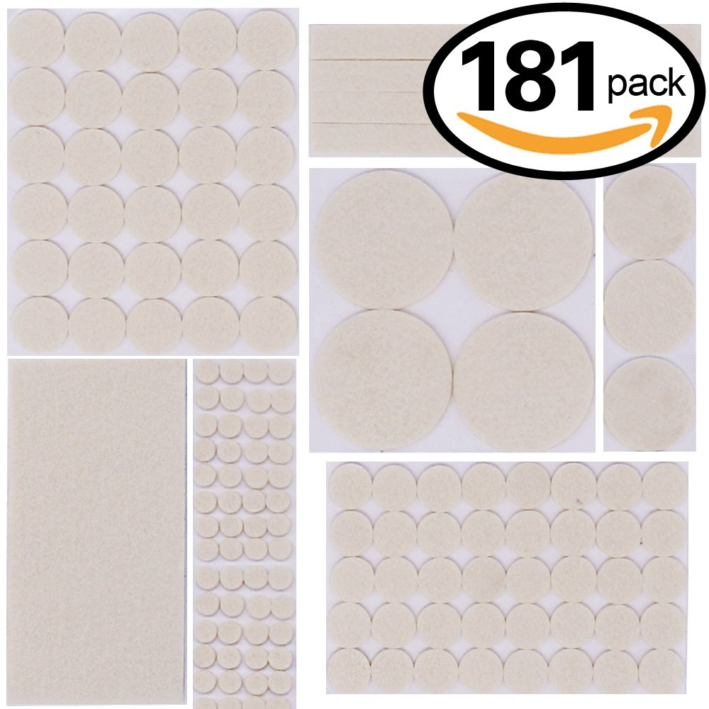 Swpeet 181 Pcs Beige Assorted Sizes Adhesive Furniture Pads Perfect for Hard Surfaces, Wood Floor Protectors Felt Pads Furniture Feet ALL SIZES - Protect Your Hardwood & Laminate Flooring
