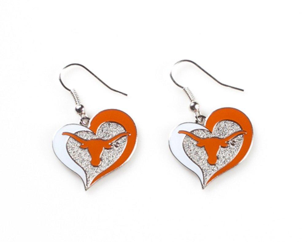 Licensed NCAA Texas Longhorns Collegiate Sports Team Logo Swirl Heart Shape Dangle Earring Set (Gift Box Included)