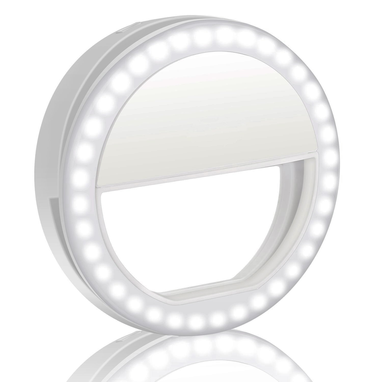 Selfie Light,WaterLuu Selfie Ring Light for Camera [Rechargable Battery] Selfie LED Camera Light [36 LED] for iPhone iPad Sumsung Galaxy Photography Phones (White)