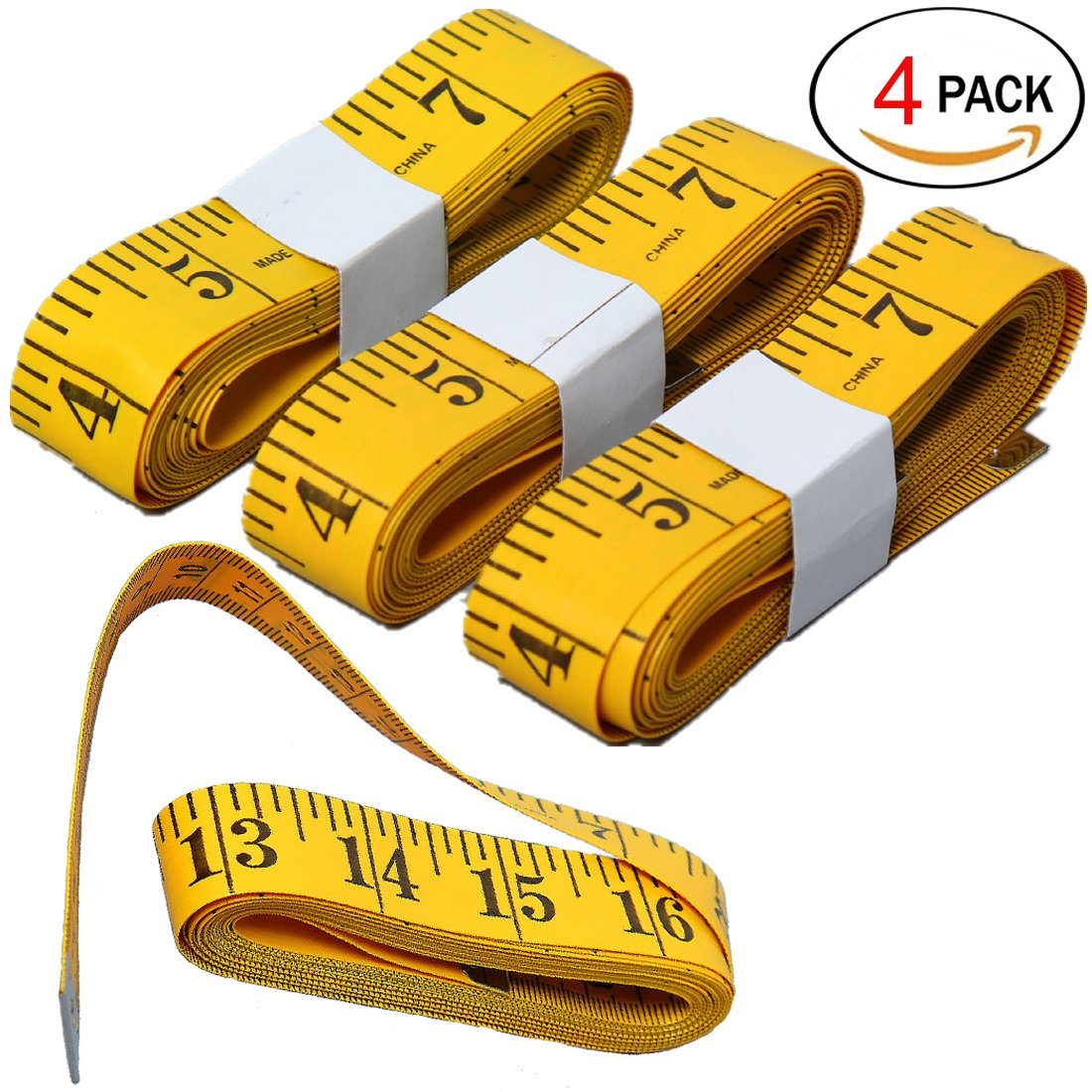 Penta Angel 120 Inches Double-Scale Soft Plastic Flexible Body Tape Measure Sewing Tailor Cloth Craft Ruler Yellow 2PCS
