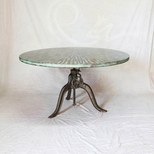 Vintage <span class=keywords><strong>Manivelle</strong></span> Industrielle Cuivre Jack Ronde Table <span class=keywords><strong>À</strong></span> Manger En Bois Massif
