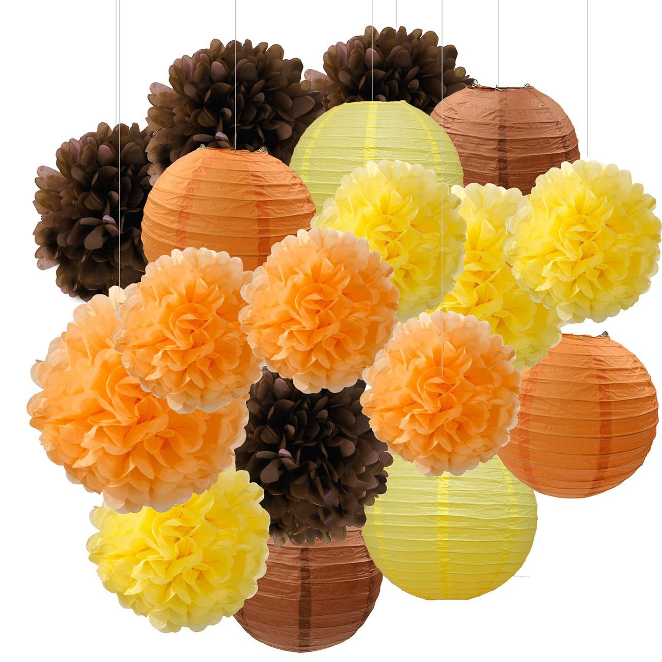 Furuix Fall Party Decorations, Autumn Decorations, Thanksgiving Party Package, Orange Party Kit,Tissue Pom Pom Paper Lanterns Thanksgiving Party Decorations/Birthday Party Decorations
