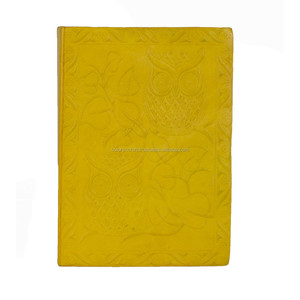 yellow color genuine leather journal
