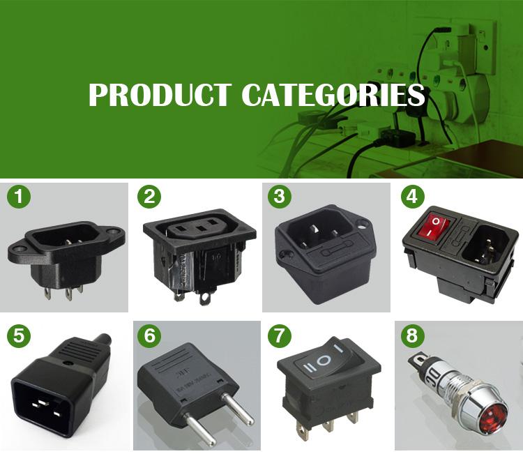 JEC Taiwan Haute Qualité Re-wirable IEC C19 C20 Alimentation AC Branche mâle femelle prise de montage adaptateurs adaptateur