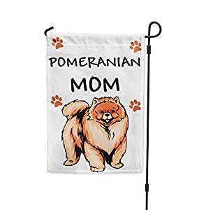 "POMERANIAN DOG Mom Yard Patio House Banner Garden Flag w/ Iron Stake Flag Only 10 1/2"" x 16"""