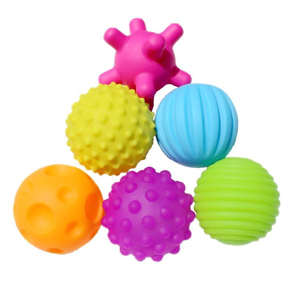 Set of 6 Sensory Balls – Textured Ball Set for Baby and Toddlers – Teether Ball Toys – Encourage Baby's Sensory Development