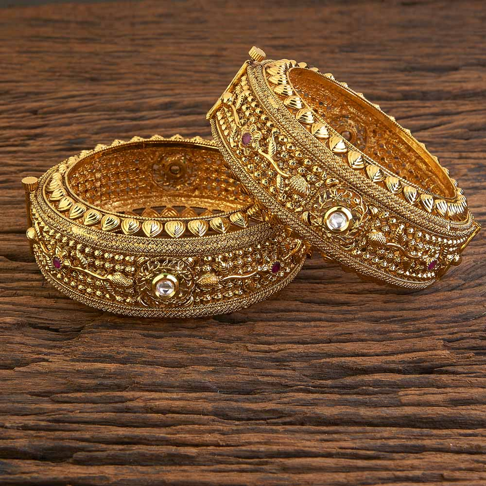 Openable Traditional Bangles With Gold Plating 18197 Ruby