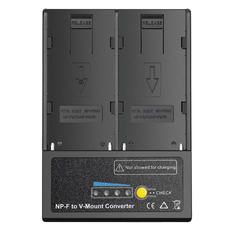 Neewer NP-F Battery to V-Mount Battery Converter Power Adapter for LED Light, HD monitor, 5D Suit, Alternative Battery Option for Sony V-Mount Gear, Fits Sony NP-F550, NP-F970 and NP-F975 battery