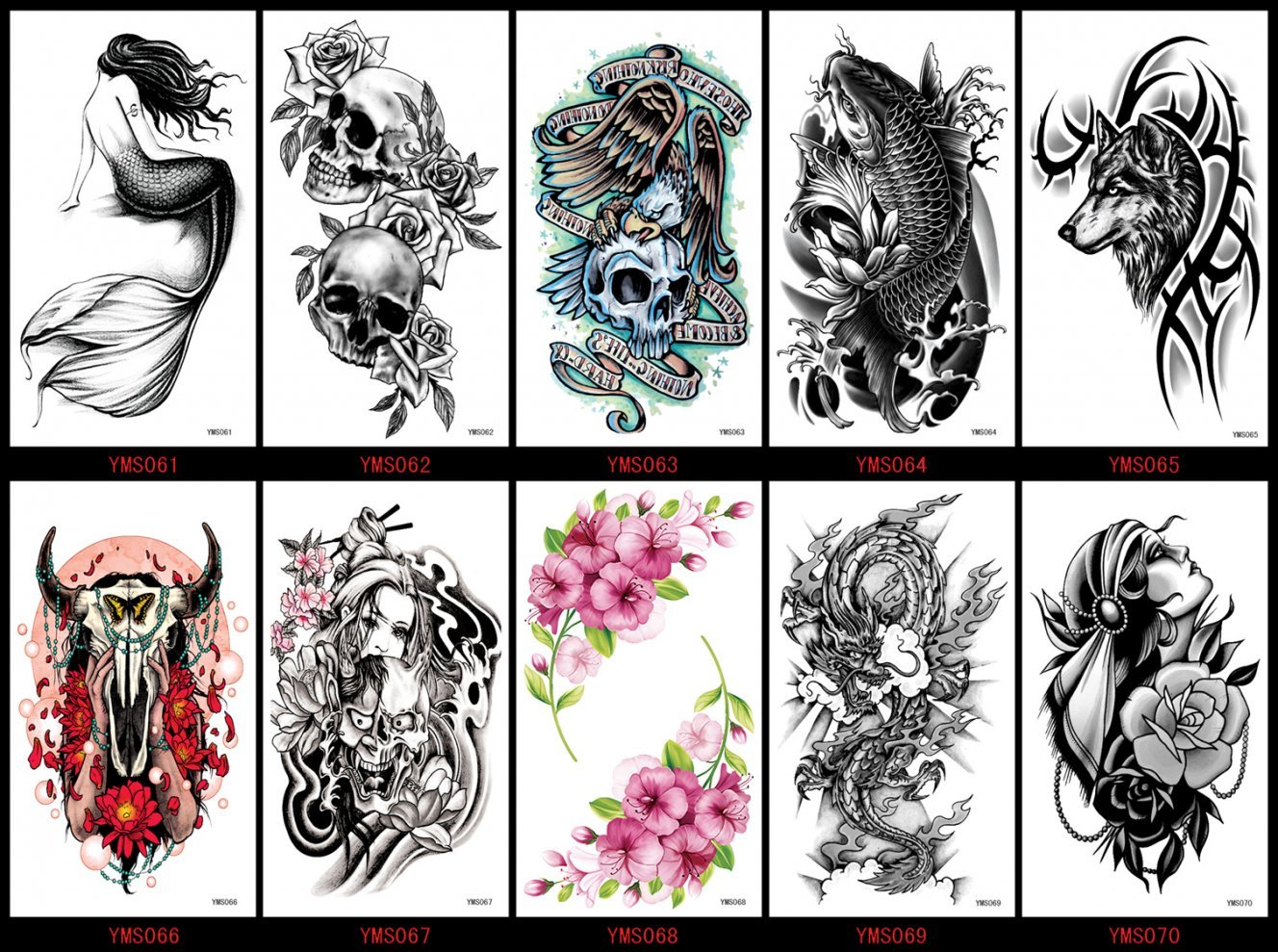 5c9573437 Get Quotations · Spestyle waterproof and non toxic tattoo 10pcs Halloween  fake temporary tattoos tattoo stickers in a packages