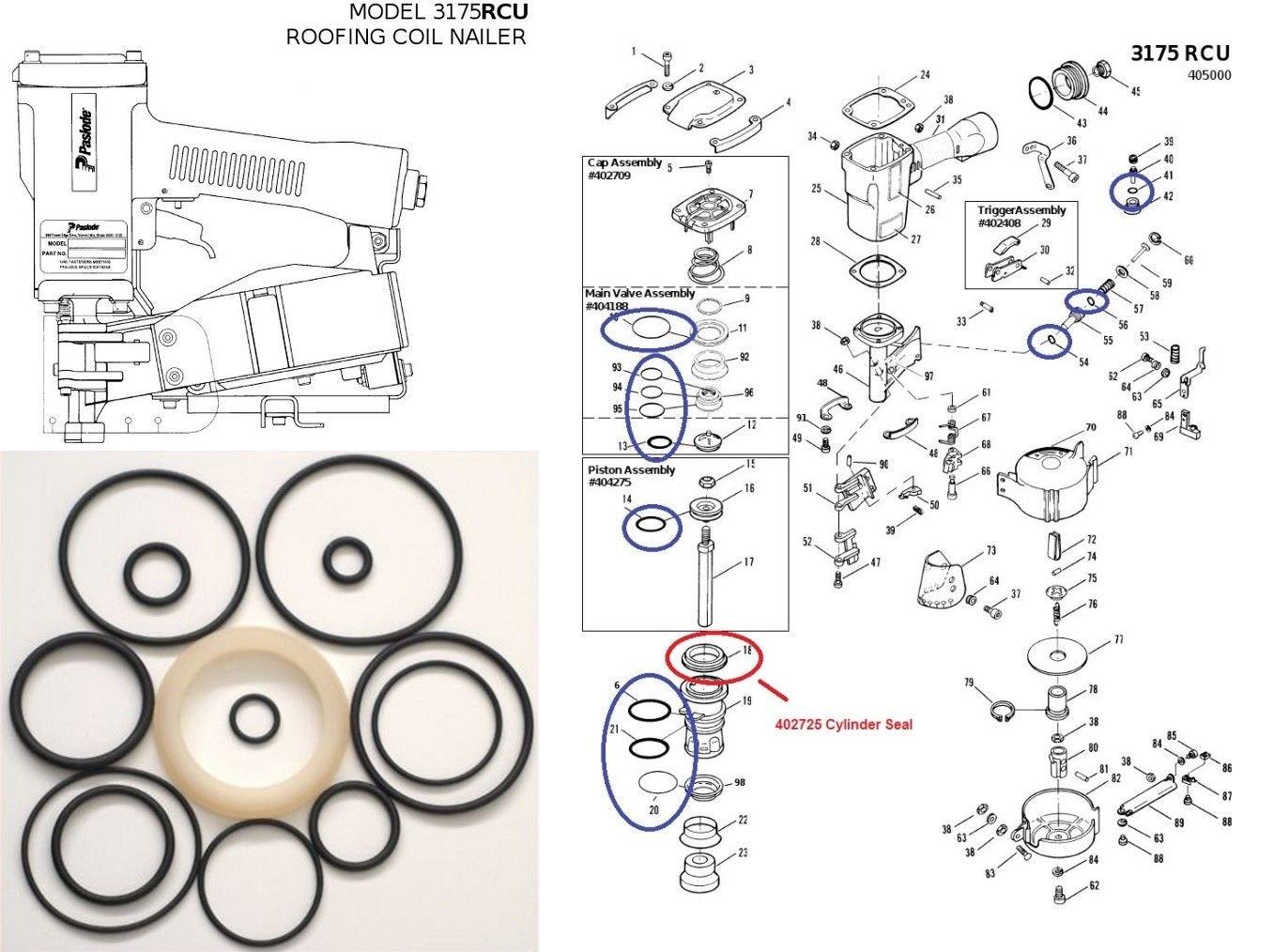 Cylinder Seal 402725 Paslode Stapler 501230 S16//W16 O-Ring Kit