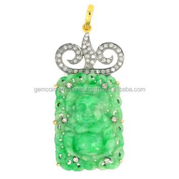 Pave diamond jade carving laughing buddha pendant buy buddha pave diamond jade carving laughing buddha pendant aloadofball Image collections