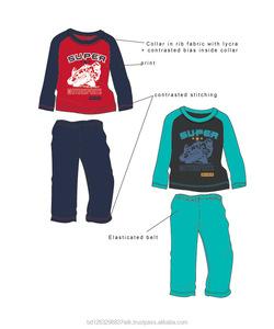 Wholesale winter clothing 100 Cotton, S/J, 140g dark navy - red Boy Pajama Set
