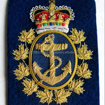 Canada Royal Canadian Navy Rcn Blazer Crest Badge Hand Embroidered,Queen  Crown - Buy Canada Royal Canadian Navy Rcn Blazer Crest Badge Hand