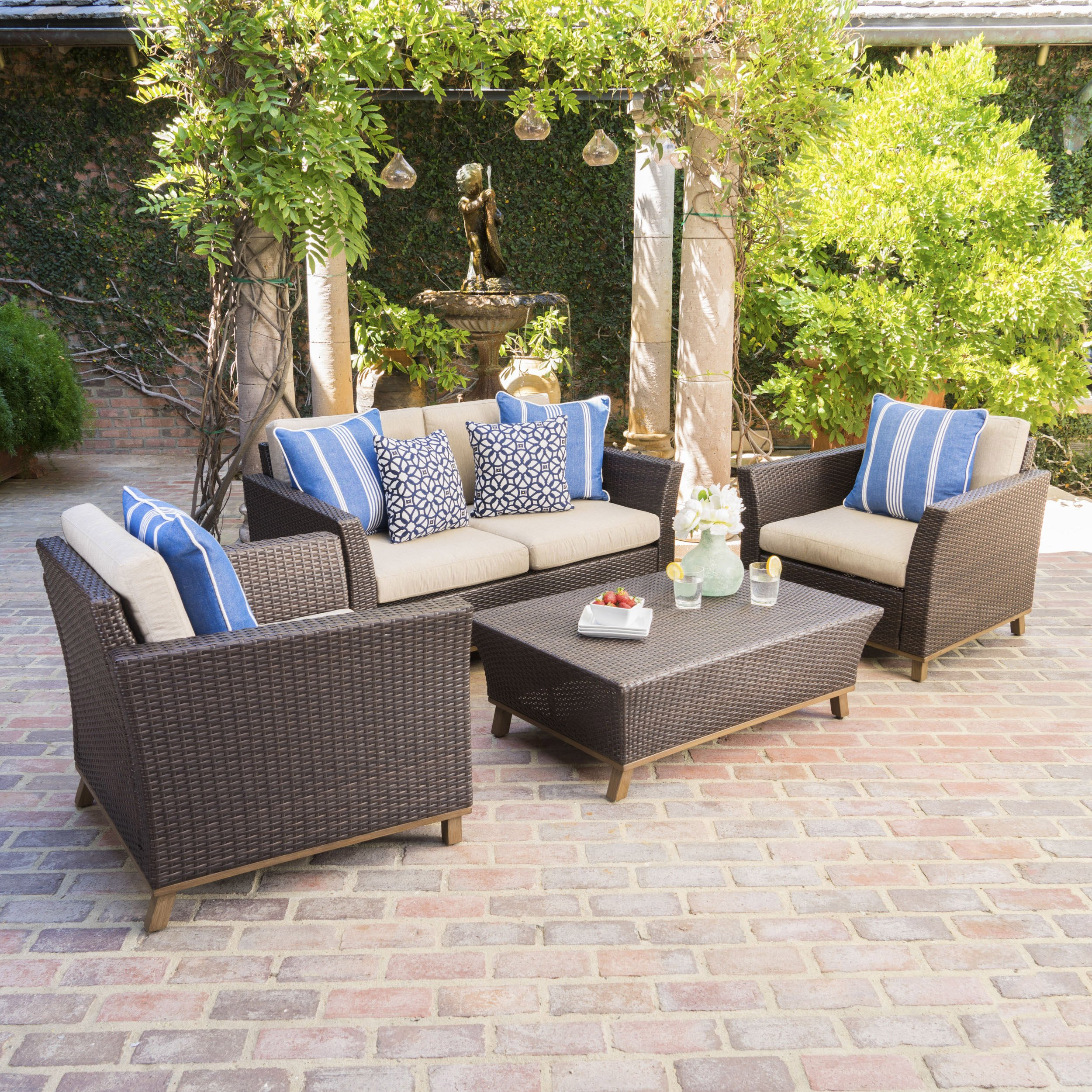 Grady Outdoor Patio Furniture, Aluminum-Framed Outdoor Chat Set Seats Four Comfortably, Durable, All-Weather Cushions, Outdoor Wicker Patio Seating Set with Table