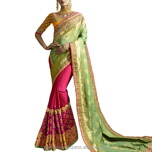Agreeable Green color Silk Creape Jacquard Saree.