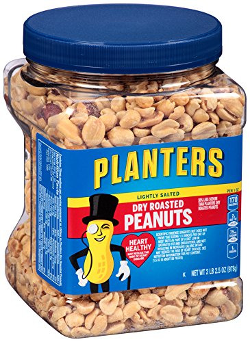 Planters Lightly Salted Dry Roasted Peanuts, 34.5 Ounce (Pack of 6)