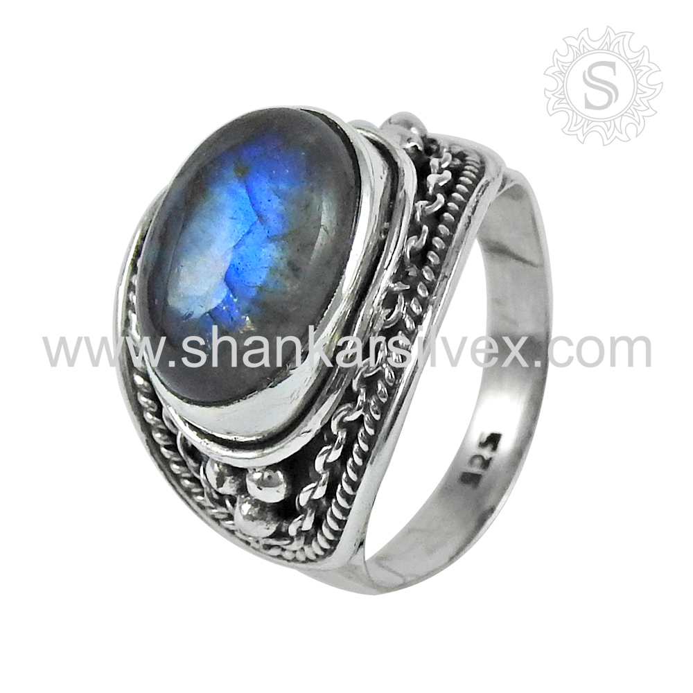Handmade Jewelry 925 sterling silver Natural Labradorite Stone Ring Wholesale Price Online atSilvermantra