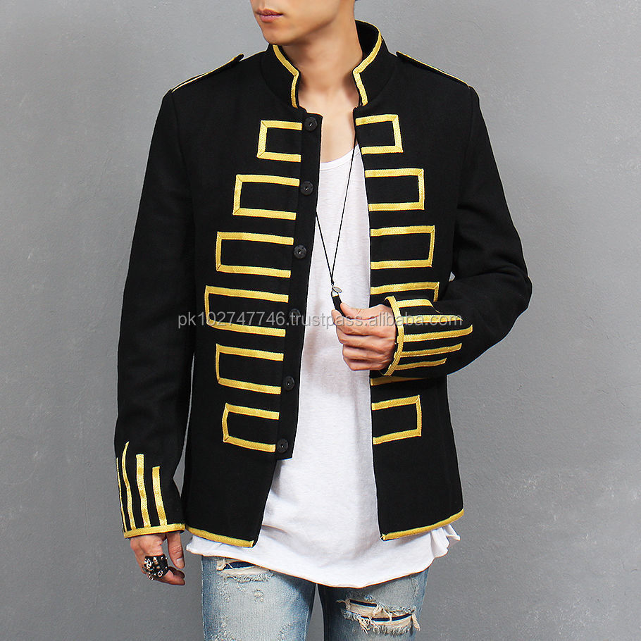 Men Fashion Military Design Gold Piping Embroidery Black Napoleon Blazer Jacket